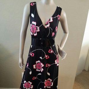 INC Women's Floral Print Dress w/ Belt Size XL